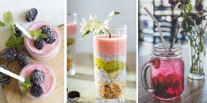 Juices and smoothies made from tropical fruits